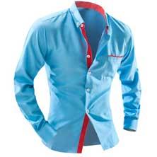 Голубая Рубашка с Красными Вставками Р-218