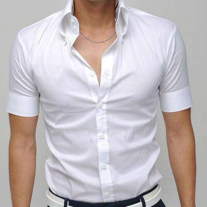 427a10704d1 Белая Мужская Рубашка Р-22 с коротким рукавом