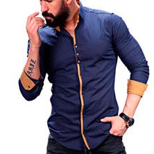 Синяя Рубашка с Желтой Вставкой Р-223