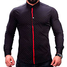 Черная Мужская Рубашка с Красной Вставкой Р-224