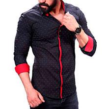 Модная Мужская Черная Рубашка Р-230