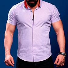 Светло Фиолетовая Рубашка с Коротким Рукавом Р-231