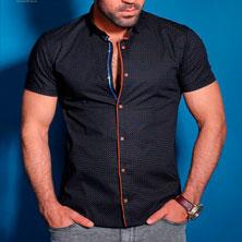 Мужская Черная Рубашка с Коротким Рукавом Р-232