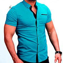 Модная Рубашка Мужская с Коротким Рукавом Р-247
