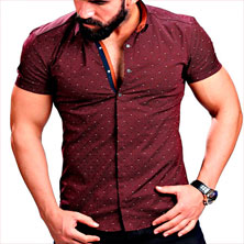 Бордовая Рубашка с Коротким Рукавом Р-249