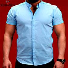 Голубая Мужская Рубашка с Коротким Рукавом Р-253