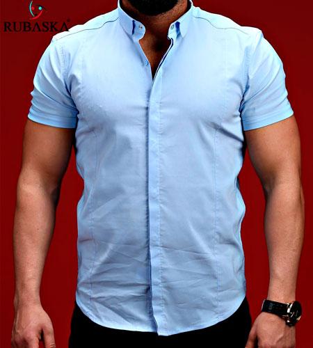 7365deb93 Голубая Мужская Рубашка с Коротким Рукавом Р-253