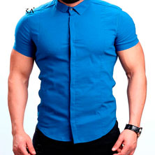 Рубашка Синяя с Коротким Рукавом Р-254