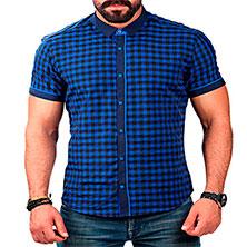 Темно-Синяя Клетчатая Мужская Рубашка Р-263