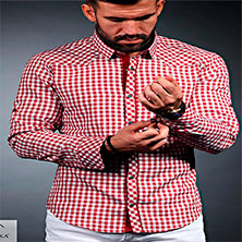Красная Рубашка в Клетку Мужская Р-292