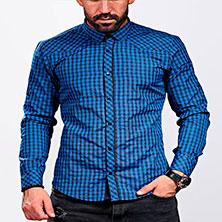 Синяя Рубашка в Клетку Мужская Р-294