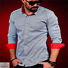 Серая Рубашка с Красными Манжетами Р-300