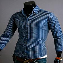 Синяя Рубашка в Полоску Р-329