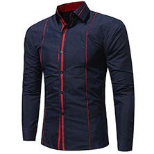 Синяя Рубашка с Красными Вставками Р-335