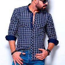 Синяя Клетчатая Рубашка Р-336