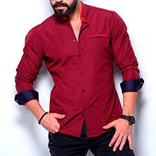 Красная Рубашка с Синими Манжетами Р-345