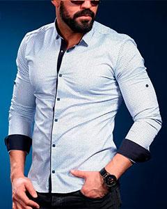 Белая Рубашка с Синими Вставками Р-372