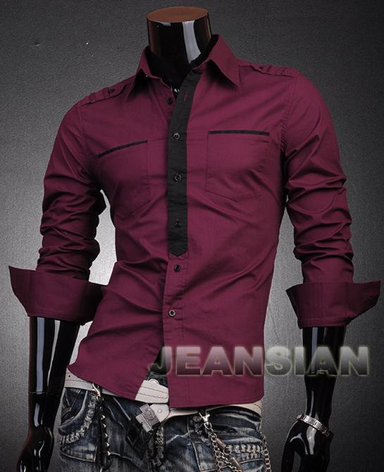 16458aa420f Бордовая Мужская Рубашка Р-48