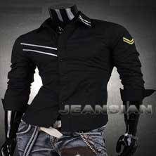 Черная Стильная Мужская Рубашка Р-64