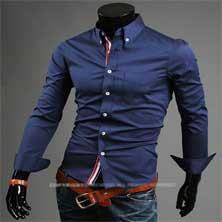Стильная Синяя Мужская Рубашка Р-84