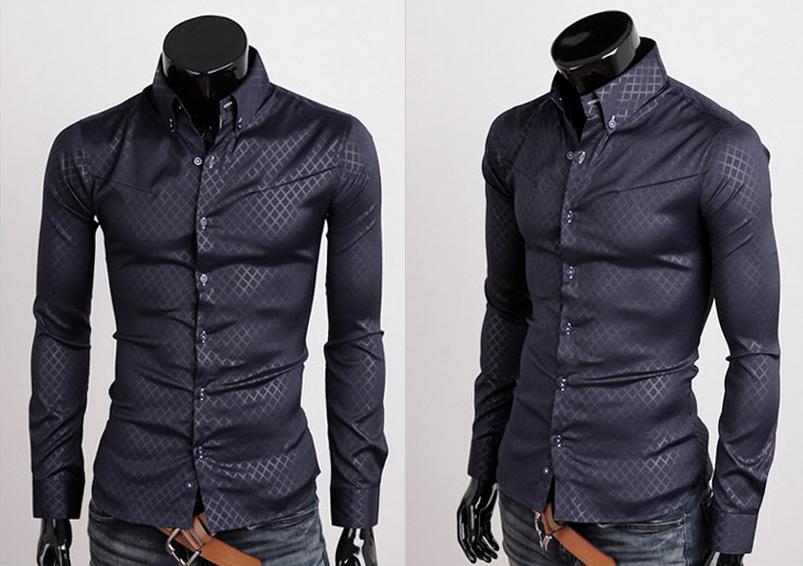03eef5abf0060d3 Темно-Синяя Мужская Рубашка P-89