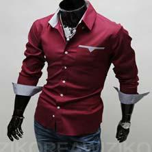 Красная Стильная Мужская Рубашка Р-9