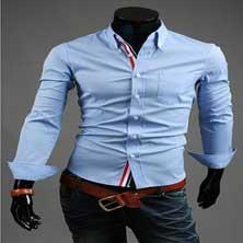 Стильная Голубая Мужская Рубашка Р-95