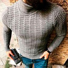 Модный Мужской Серый Свитер S-120
