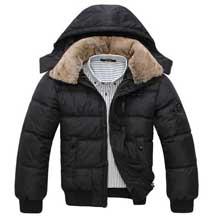 Черная Зимняя Куртка с Меховым Воротником Z-1276